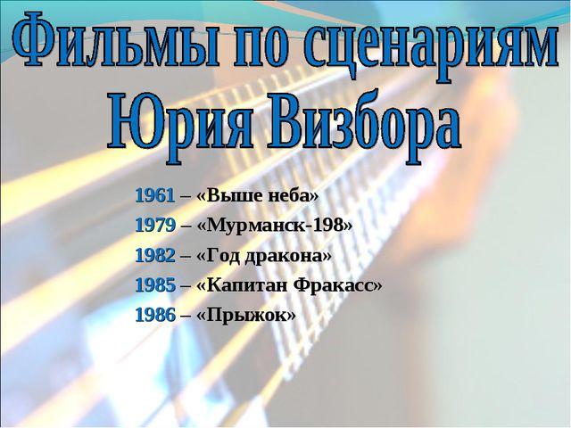 1961 – «Выше неба» 1979 – «Мурманск-198» 1982 – «Год дракона» 1985 – «Капитан...