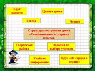 Структура построения урока «Самопознания» в старших классах. Круг радости Бес