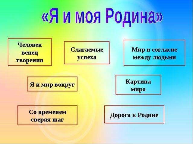 Мир и согласие между людьми Дорога к Родине Слагаемые успеха Я и мир вокруг С...