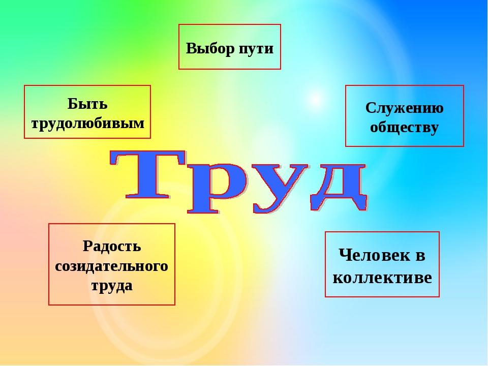 Быть трудолюбивым Выбор пути Служению обществу Радость созидательного труда Ч...