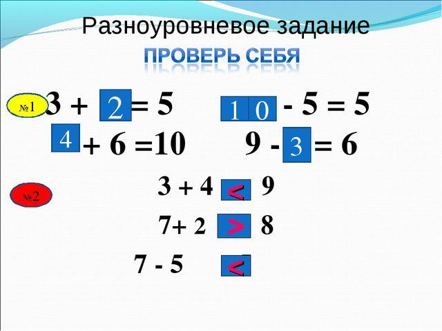 Разноуровневое задание 3 + = 5 - 5 = 5 + 6 =10 9 - = 6 2 0 4 3 3 + 4 9 7+ 2 8...