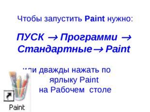Чтобы запустить Paint нужно: ПУСК  Программи  Стандартные Paint или дважды