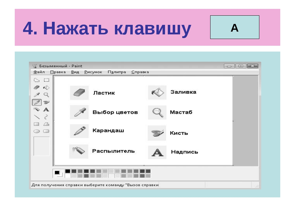4. Нажать клавишу А