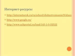 Интернет-ресурсы http://interneturok.ru/ru/school/obshestvoznanie/9-klass htt