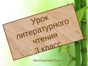 * Урок литературного чтения 3 класс Желтоухова Ю.А.