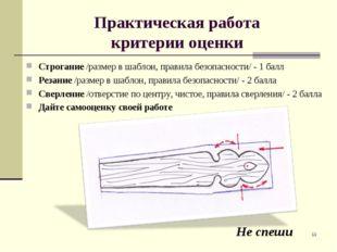 Практическая работа критерии оценки Строгание /размер в шаблон, правила безоп