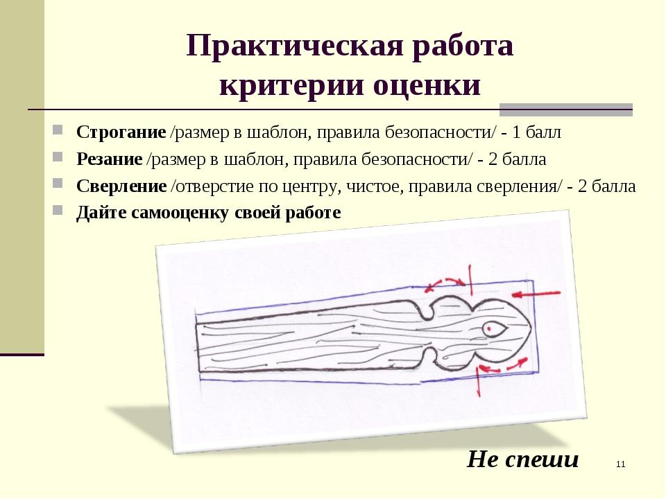 Практическая работа критерии оценки Строгание /размер в шаблон, правила безоп...