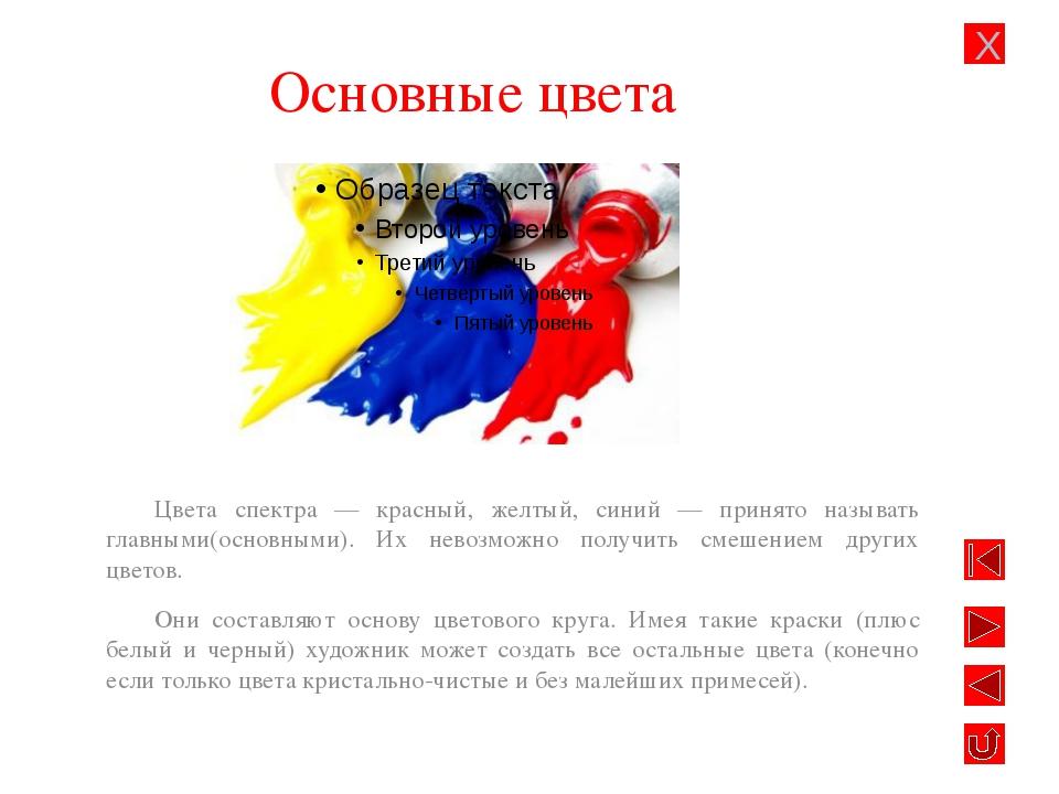 Основные цвета Цвета спектра — красный, желтый, синий — принято называть глав...