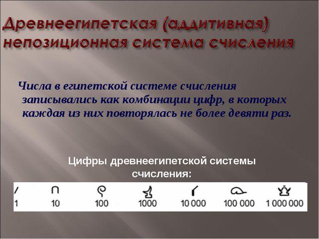 Числа в египетской системе счисления записывались как комбинации цифр, в кот...