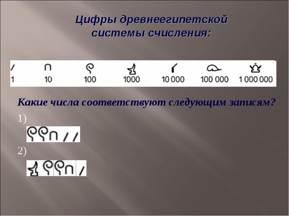 Какие числа соответствуют следующим записям? 1) 2) Цифры древнеегипетской си...