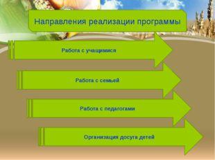 Направления реализации программы Работа с учащимися Работа с семьей Работа с