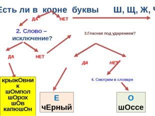 1. Есть ли в корне буквы Ш, Щ, Ж, Ч ? 2. Слово – исключение? 4. Смотрим в сло