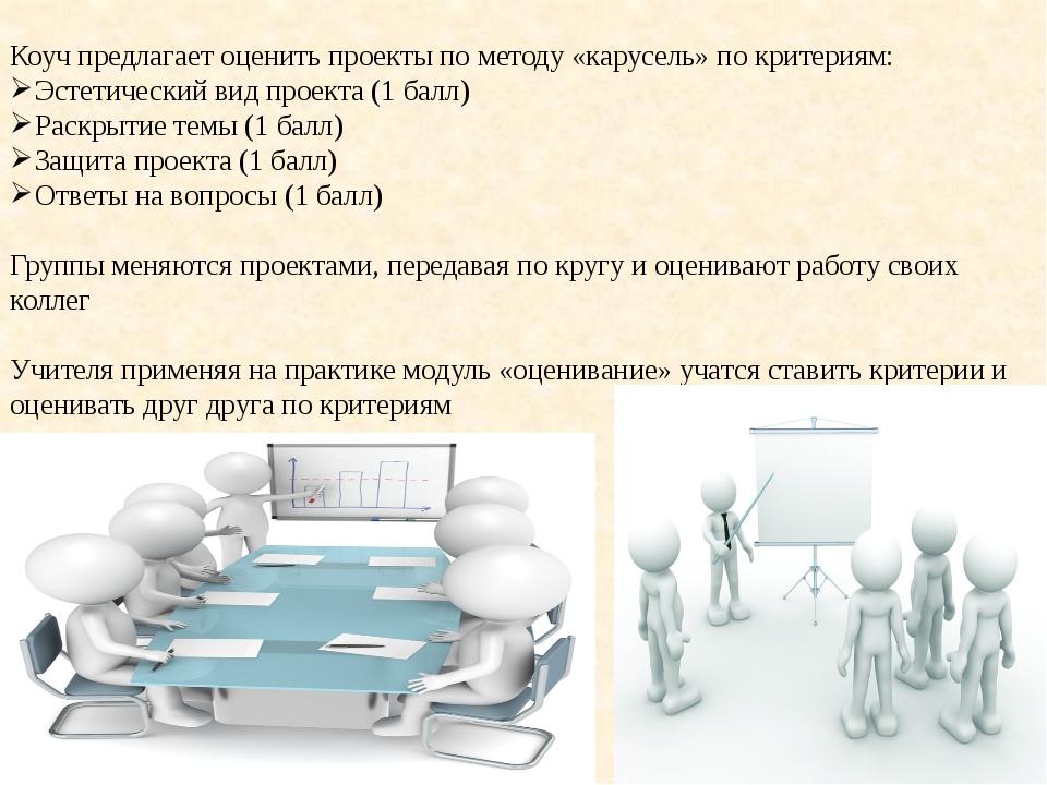 Коуч предлагает оценить проекты по методу «карусель» по критериям: Эстетичес...