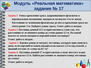 Модуль «Реальная математика» задание № 17 Задача 1 Точка крепления троса, уде