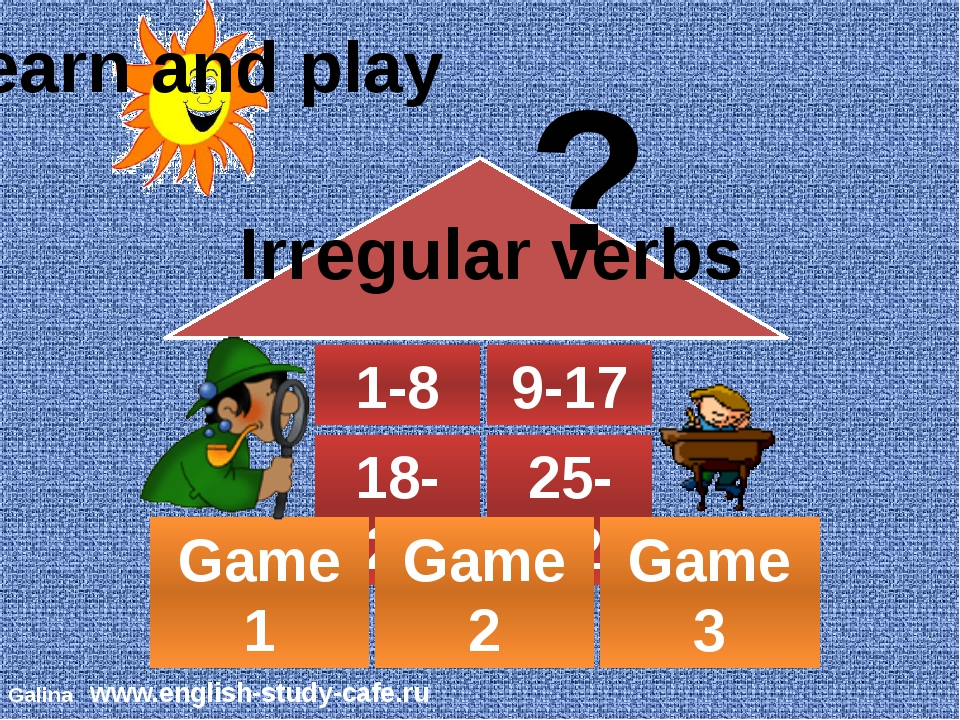 1-8 9-17 18-24 25-32 Game 1 Game 2 Game 3 Learn and play ? Irregular verbs ©...