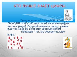 Представители ОТ КАЖДОЙ КОМАНДЫ ВЫХОДЯТ К ДОСКЕ, на которой написаны цифры (