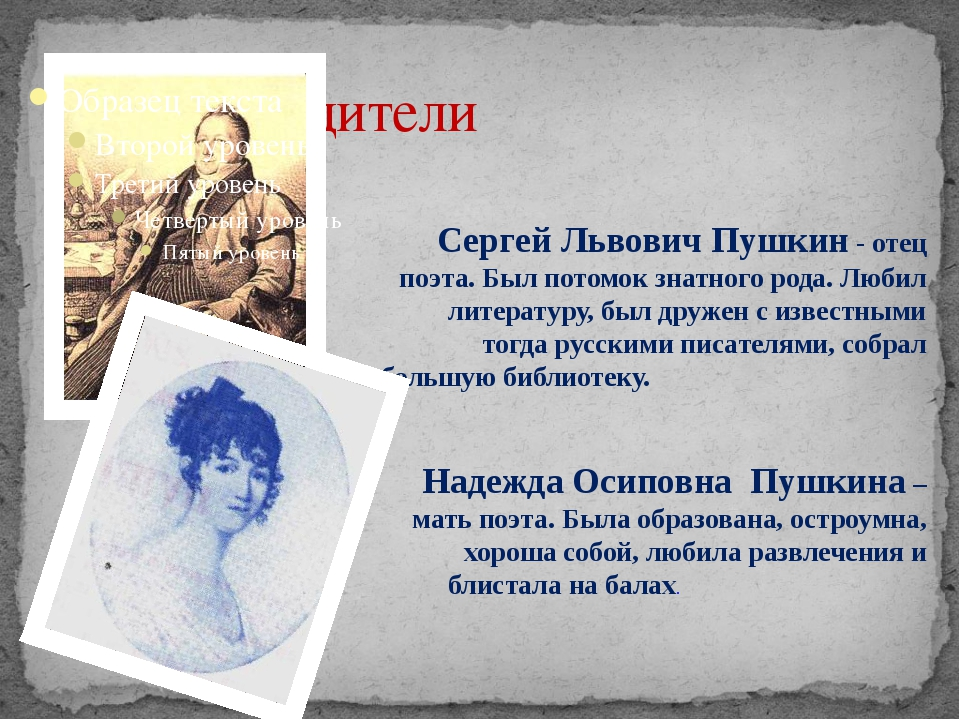 Родители Сергей Львович Пушкин - отец поэта. Был потомок знатного рода. Люби...