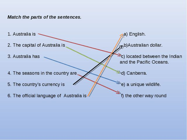 Match the parts of the sentences. 1. Australia is 	 a) English. 2. The capita...
