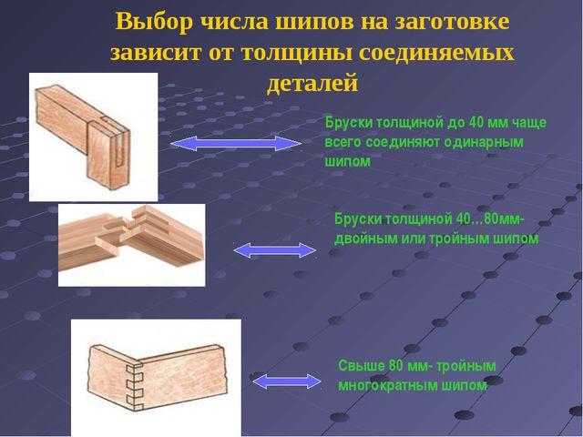 Выбор числа шипов на заготовке зависит от толщины соединяемых деталей Бруски...