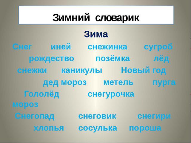 Зимний словарик Зима Снег иней снежинка сугроб рождество позёмка лёд снежки к...