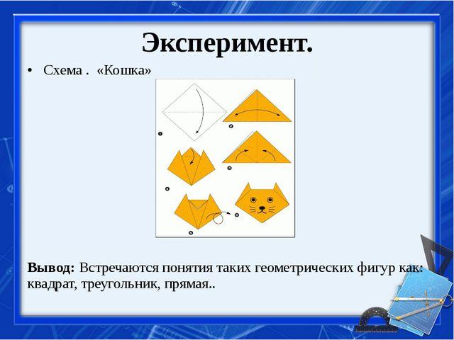 Эксперимент. Схема . «Кошка» Вывод: Встречаются понятия таких геометрических...