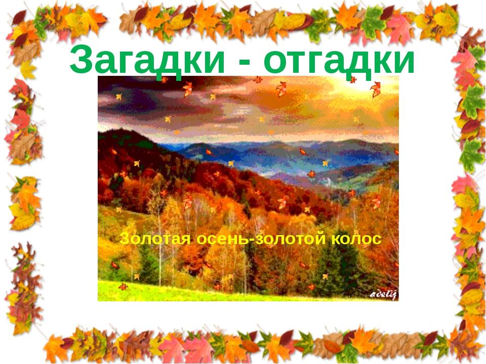 Загадки - отгадки Золотая осень-золотой колос
