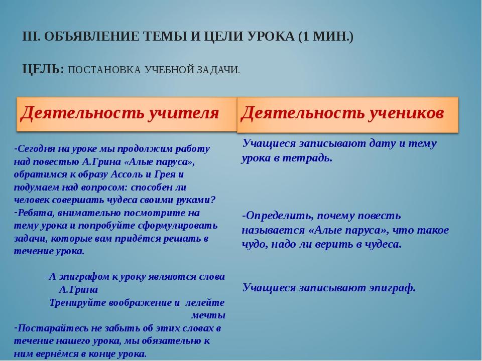 III. ОБЪЯВЛЕНИЕ ТЕМЫ И ЦЕЛИ УРОКА (1 МИН.) ЦЕЛЬ: ПОСТАНОВКА УЧЕБНОЙ ЗАДАЧИ. С...