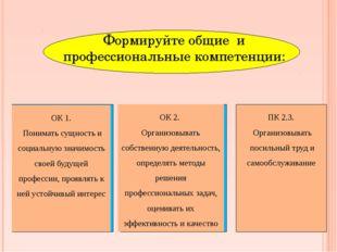 Формируйте общие и профессиональные компетенции: ОК 2. Организовывать собств