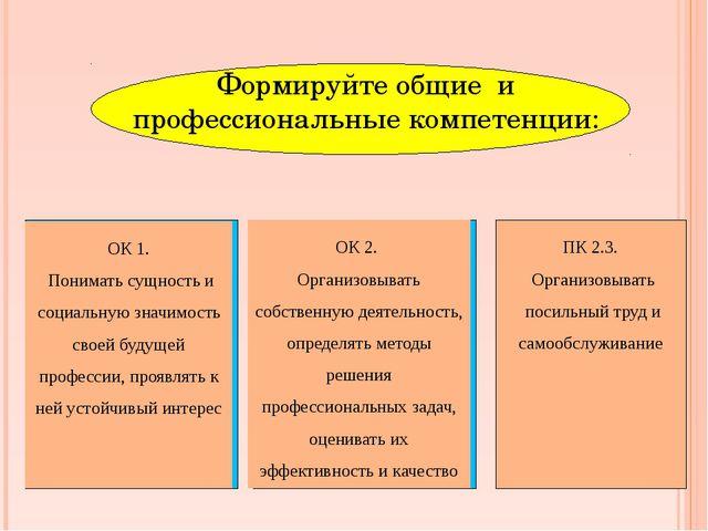Формируйте общие и профессиональные компетенции: ОК 2. Организовывать собств...