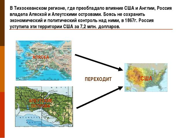В Тихоокеанском регионе, где преобладало влияние США и Англии, Россия владела...