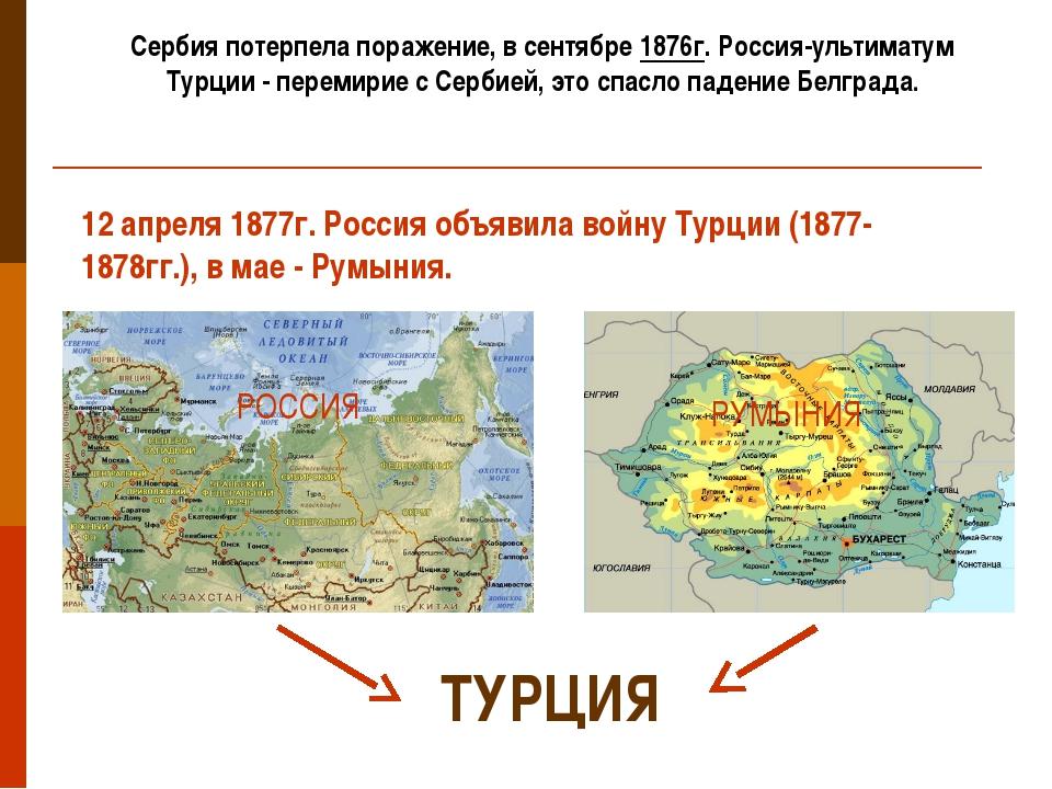 Сербия потерпела поражение, в сентябре 1876г. Россия-ультиматум Турции - пере...