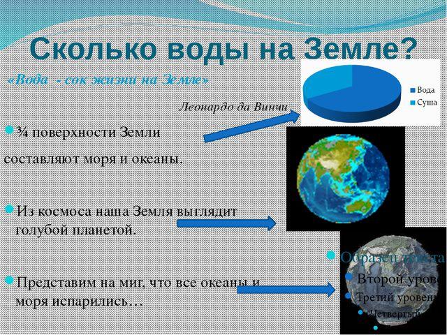 Сколько воды на Земле? «Вода - сок жизни на Земле» Леонардо да Винчи ¾ поверх...