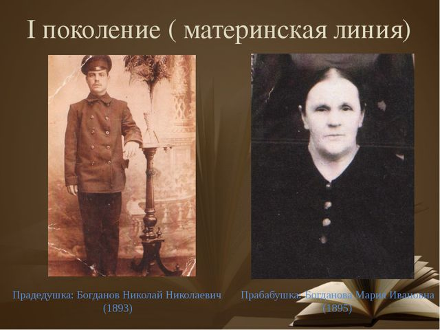 I поколение ( материнская линия) Прабабушка: Богданова Мария Ивановна (1895)...