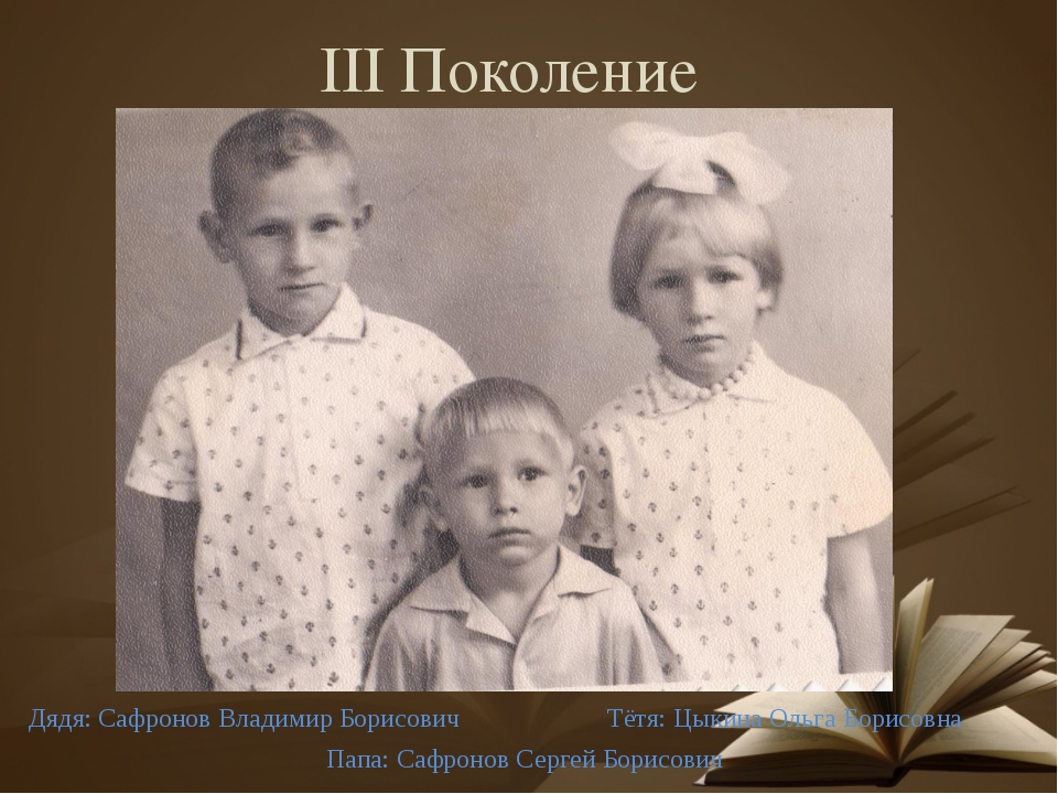 III Поколение Дядя: Сафронов Владимир Борисович Папа: Сафронов Сергей Борисов...