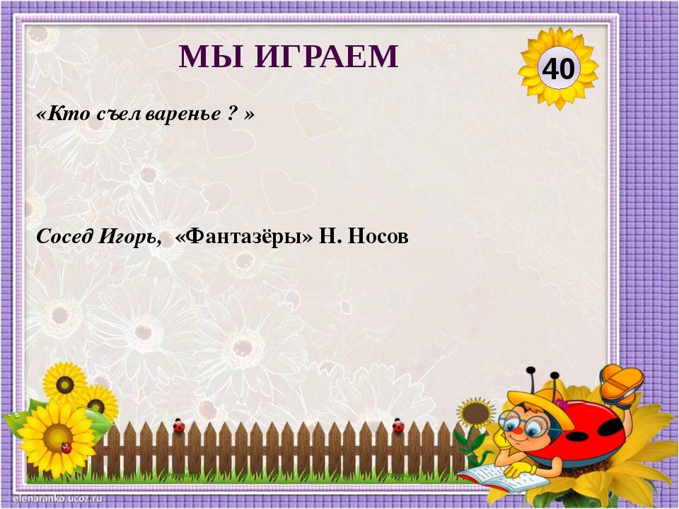 Сосед Игорь, «Фантазёры» Н. Носов «Кто съел варенье ? » 40 МЫ ИГРАЕМ