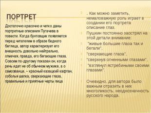 Достаточно красочно и четко даны портретные описания Пугачева в повести. Когд