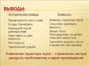 Историческая правда: Предводитель восстания Осада Оренбурга Народный герой;