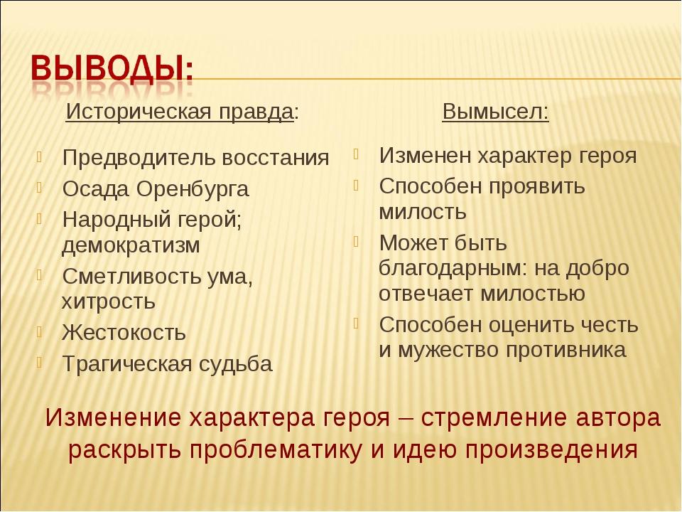Историческая правда: Предводитель восстания Осада Оренбурга Народный герой;...