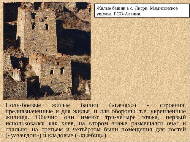 Полу-боевые жилые башни («гæнах») - строения, предназначенные и для жилья, и...
