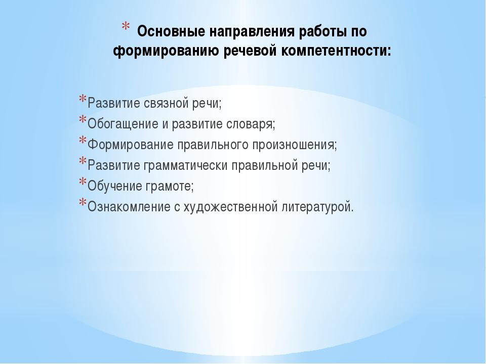 Основные направления работы по формированию речевой компетентности: Развитие...