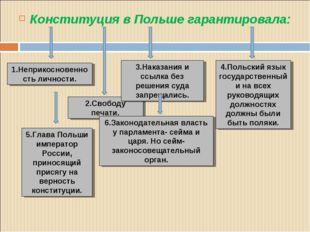 Конституция в Польше гарантировала: 1.Неприкосновенность личности. 2.Свободу