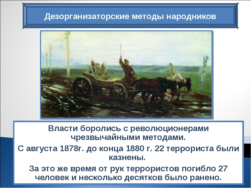 Дезорганизаторские методы народников Власти боролись с революционерами чрезвы...