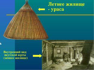 Летнее жилище - ураса Внутренний вид якутской юрты (зимнее жилище)