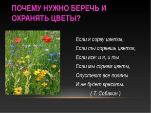 ПОЧЕМУ НУЖНО БЕРЕЧЬ И ОХРАНЯТЬ ЦВЕТЫ? Если я сорву цветок, Если ты сорвешь цв