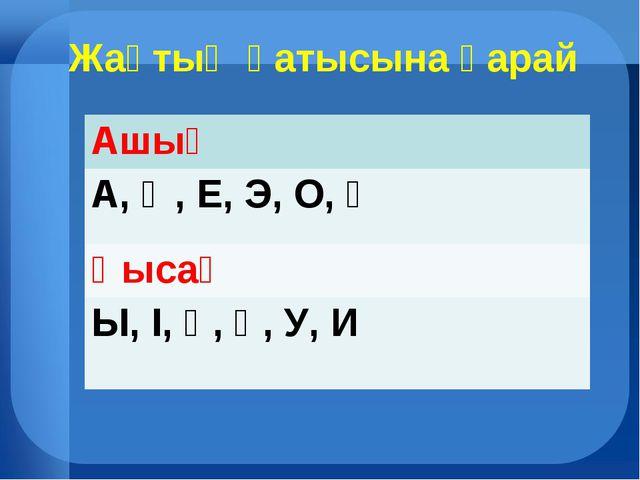 Жақтың қатысына қарай Ашық А, Ә, Е, Э, О, Ө Қысаң Ы, І, Ұ, Ү, У, И