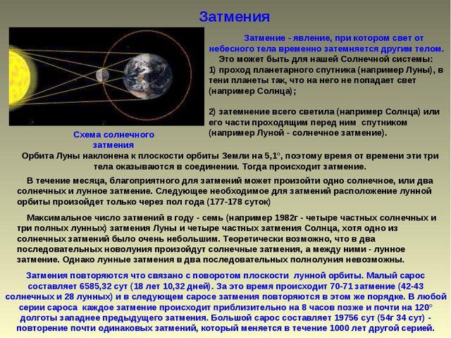 Затмения  Затмение - явление, при котором свет от небесного тела временно...