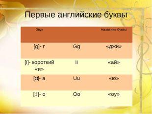 Первые английские буквы ЗвукНазвание буквы [g]- гGg«джи» [i]- короткий «и