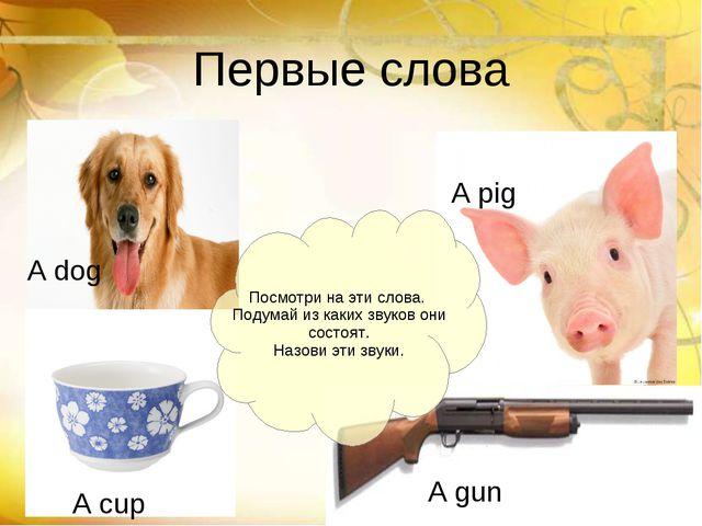 Первые слова A dog A pig A gun A cup Посмотри на эти слова. Подумай из каких...
