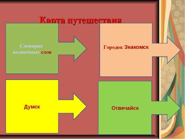 Карта путешествия Словарик волшебных слов Городок Знакомск Думск Отвечайск