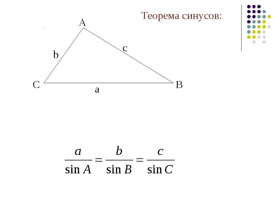A B C Теорема синусов: а с b
